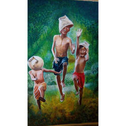 nature with kids, 22 x 31 inch, nidhi agrawal,22x31inch,cloth,paintings,figurative paintings,landscape paintings,nature paintings | scenery paintings,children paintings,kids paintings,paintings for dining room,paintings for living room,paintings for bedroom,paintings for office,paintings for kids room,paintings for hotel,paintings for kitchen,paintings for school,paintings for hospital,watercolor,GAL01931531175