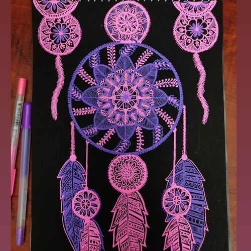 dreamcatcher, 8 x 11 inch, shreya bhattacharya,8x11inch,paper,drawings,art deco drawings,pop art drawings,paintings for dining room,paintings for living room,paintings for bedroom,paintings for office,paintings for kids room,paintings for kitchen,pen color,GAL01950431179
