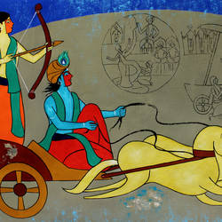 krishna the charioteer, 58 x 30 inch, chetan katigar,58x30inch,canvas,paintings,abstract paintings,wildlife paintings,figurative paintings,flower paintings,folk art paintings,landscape paintings,modern art paintings,multi piece paintings,conceptual paintings,religious paintings,nature paintings | scenery paintings,abstract expressionism paintings,art deco paintings,cubism paintings,expressionism paintings,impressionist paintings,radha krishna paintings,contemporary paintings,realistic paintings,love paintings,horse paintings,dog painting,paintings for dining room,paintings for living room,paintings for bedroom,paintings for office,paintings for kids room,paintings for hotel,acrylic color,GAL026631186