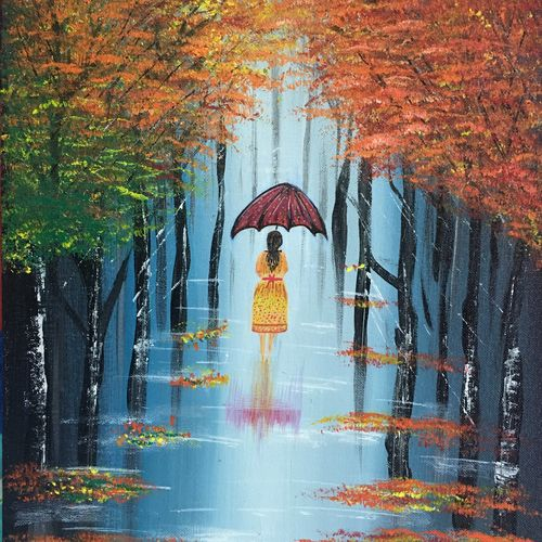 girl with an umbrella , 12 x 16 inch, lisa  serene ,12x16inch,canvas,paintings,landscape paintings,expressionism paintings,paintings for dining room,paintings for living room,paintings for bedroom,paintings for office,paintings for bathroom,paintings for hotel,paintings for kitchen,acrylic color,GAL01951231188