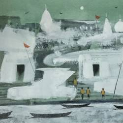 peaceful kashi, 11 x 7 inch, girish chandra vidyaratna,11x7inch,paper,paintings,figurative paintings,cityscape paintings,landscape paintings,modern art paintings,religious paintings,art deco paintings,contemporary paintings,lord shiva paintings,paintings for living room,acrylic color,GAL03631196