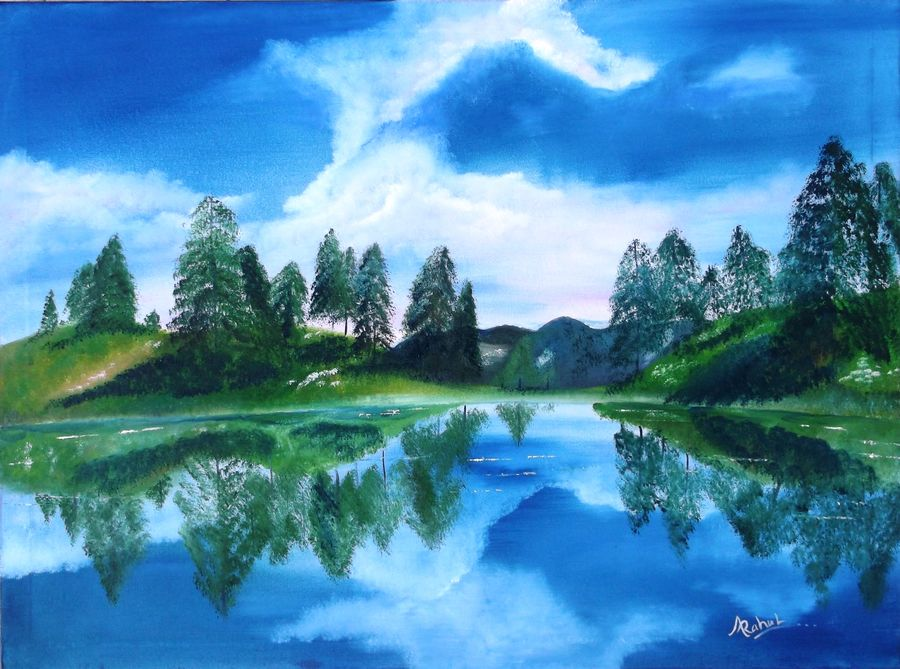 nature in blue , 24 x 18 inch, rahul kumawat,landscape paintings,paintings for office,canvas,oil,24x18inch,GAL0126312