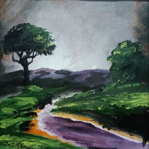 abstract landscape-4, 10 x 10 inch, vignesh kumar,abstract paintings,paintings for living room,landscape paintings,nature paintings,canvas,acrylic color,10x10inch,GAL02503120Nature,environment,Beauty,scenery,greenery
