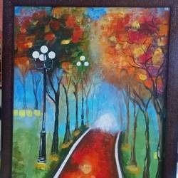 evening in a park, 18 x 30 inch, vaishali solanki,18x30inch,canvas,paintings,landscape paintings,nature paintings | scenery paintings,paintings for dining room,paintings for living room,paintings for bedroom,paintings for office,paintings for kids room,paintings for hotel,acrylic color,GAL01946931201