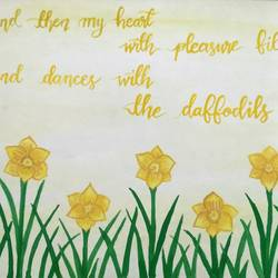 daffodils, 11 x 14 inch, tahoora ansari,11x14inch,cartridge paper,paintings,abstract paintings,flower paintings,nature paintings | scenery paintings,paintings for dining room,paintings for living room,paintings for bedroom,paintings for office,poster color,GAL01948231206