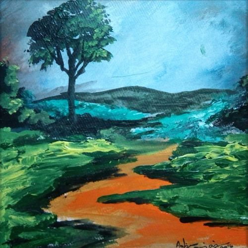 abstract landscape-5, 10 x 10 inch, vignesh kumar,abstract paintings,paintings for living room,landscape paintings,nature paintings,canvas,acrylic color,10x10inch,GAL02503121Nature,environment,Beauty,scenery,greenery