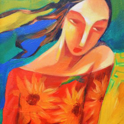 waiting for you, 12 x 30 inch, krantishil kirve,12x30inch,canvas,paintings,figurative paintings,modern art paintings,conceptual paintings,portrait paintings,expressionism paintings,impressionist paintings,love paintings,paintings for dining room,paintings for living room,paintings for bedroom,paintings for hotel,paintings for hospital,acrylic color,GAL01952331210