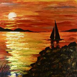 a sunset, 24 x 24 inch, shabna moorkan,24x24inch,canvas,landscape paintings,paintings for dining room,paintings for living room,paintings for bedroom,paintings for office,paintings for hotel,paintings for school,paintings for hospital,paintings for dining room,paintings for living room,paintings for bedroom,paintings for office,paintings for hotel,paintings for school,paintings for hospital,acrylic color,GAL01952831212