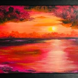 a warm sunset, 36 x 24 inch, shabna moorkan,36x24inch,canvas,paintings,landscape paintings,nature paintings | scenery paintings,paintings for dining room,paintings for living room,paintings for bedroom,paintings for office,paintings for hotel,paintings for school,paintings for hospital,acrylic color,GAL01952831215
