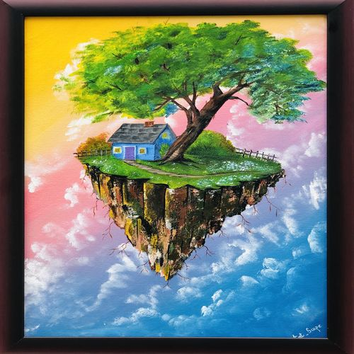 flying island , 24 x 18 inch, shabna moorkan,24x18inch,canvas,paintings,landscape paintings,nature paintings | scenery paintings,paintings for dining room,paintings for living room,paintings for bedroom,paintings for kids room,paintings for hotel,paintings for school,paintings for hospital,acrylic color,GAL01952831218