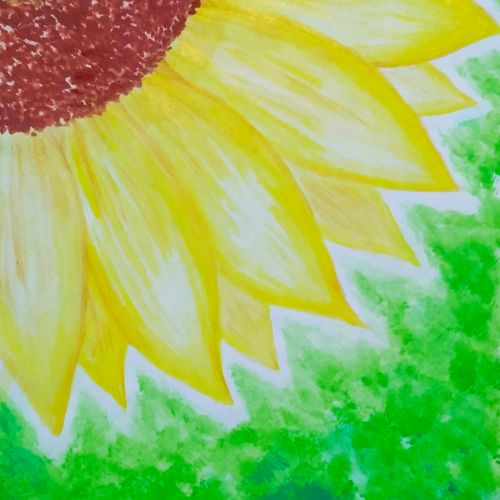 sunflower , 7 x 10 inch, tahoora ansari,7x10inch,cartridge paper,paintings,abstract paintings,flower paintings,nature paintings   scenery paintings,paintings for dining room,paintings for living room,paintings for bedroom,paintings for office,paintings for hotel,watercolor,GAL01948231219