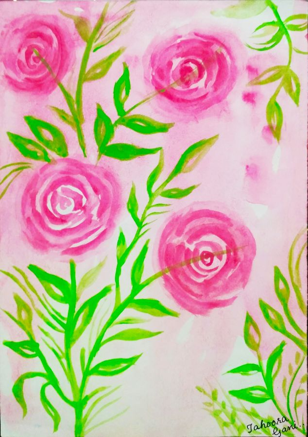 rosy roses, 7 x 10 inch, tahoora ansari,7x10inch,cartridge paper,paintings,abstract paintings,flower paintings,nature paintings | scenery paintings,paintings for dining room,paintings for living room,paintings for bedroom,paintings for office,paintings for hotel,watercolor,GAL01948231220