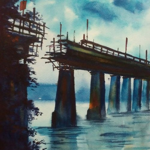bridge, 8 x 12 inch, shankhadeep  mondal,8x12inch,brustro watercolor paper,paintings,landscape paintings,conceptual paintings,paintings for dining room,paintings for living room,paintings for bedroom,paintings for office,paintings for kids room,paintings for hotel,paintings for kitchen,paintings for school,paintings for hospital,watercolor,GAL01403031223