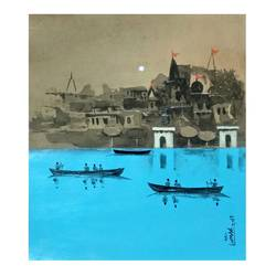 beautiful banaras, 10 x 9 inch, girish chandra vidyaratna,10x9inch,paper,paintings,figurative paintings,cityscape paintings,landscape paintings,modern art paintings,religious paintings,art deco paintings,contemporary paintings,paintings for living room,acrylic color,GAL03631225
