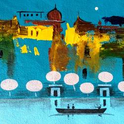 beauty of varanasi ghat, 11 x 6 inch, girish chandra vidyaratna,11x6inch,canvas,paintings,figurative paintings,cityscape paintings,landscape paintings,modern art paintings,religious paintings,contemporary paintings,paintings for living room,acrylic color,GAL03631226