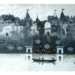 varanasi ghat series 11, 8 x 7 inch, girish chandra vidyaratna,8x7inch,paper,paintings,figurative paintings,cityscape paintings,landscape paintings,modern art paintings,religious paintings,contemporary paintings,paintings for living room,acrylic color,GAL03631227