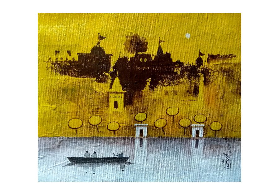 varanasi ghat series 8, 9 x 8 inch, girish chandra vidyaratna,9x8inch,canvas,paintings,figurative paintings,cityscape paintings,landscape paintings,modern art paintings,religious paintings,paintings for living room,acrylic color,GAL03631229