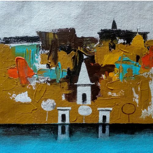 varanasi ghat series 8, 7 x 9 inch, girish chandra vidyaratna,7x9inch,canvas,paintings,figurative paintings,cityscape paintings,landscape paintings,modern art paintings,religious paintings,art deco paintings,contemporary paintings,paintings for living room,acrylic color,GAL03631230