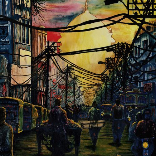 busy morning street, 23 x 30 inch, samit kamar,23x30inch,handmade paper,paintings,cityscape paintings,paintings for living room,paintings for office,watercolor,GAL0443431231