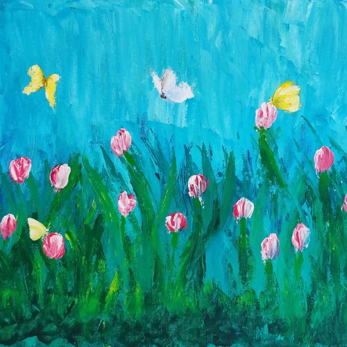 tulips in love, 34 x 24 inch, srinu badri,34x24inch,canvas,paintings,abstract paintings,flower paintings,modern art paintings,paintings for living room,paintings for bedroom,paintings for office,paintings for kids room,paintings for hotel,acrylic color,GAL01289931232
