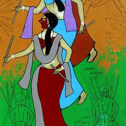 festival celebration, 19 x 46 inch, chetan katigar,19x46inch,canvas,paintings,abstract paintings,figurative paintings,cityscape paintings,modern art paintings,multi piece paintings,conceptual paintings,religious paintings,art deco paintings,expressionism paintings,impressionist paintings,contemporary paintings,realistic paintings,love paintings,horse paintings,kalighat painting,paintings for living room,paintings for bedroom,paintings for office,paintings for hotel,acrylic color,GAL026631240
