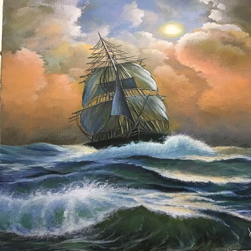 sail boat , 12 x 16 inch, kumar ranadive,12x16inch,thick paper,paintings,nature paintings | scenery paintings,acrylic color,GAL01956931243