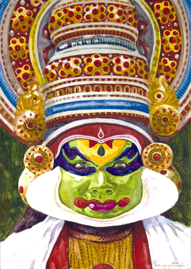 kathakali dancer (5), 13 x 18 inch, jeyaprakash m,expressionist paintings,paintings for living room,canson paper,watercolor,13x18inch,GAL011023125