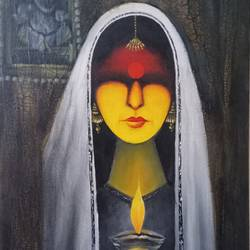 lady figure, 12 x 24 inch, kumar ranadive,12x24inch,wood board,paintings,acrylic color,oil color,marble,GAL01956931253