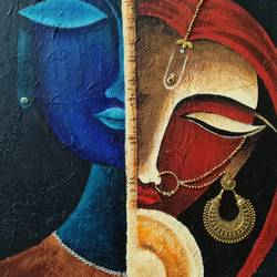radha krishna, 12 x 16 inch, kumar ranadive,12x16inch,wood board,figurative paintings,radha krishna paintings,paintings for living room,paintings for living room,acrylic color,instant batik,mixed media,metal,GAL01956931254