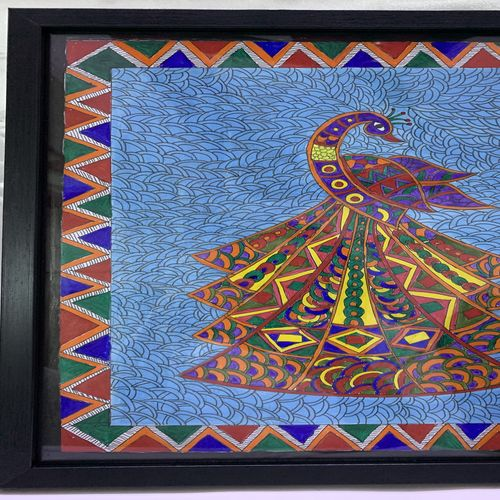dancing peacock, 12 x 16 inch, lily prasad,12x16inch,ivory sheet,paintings,folk art paintings,madhubani paintings | madhubani art,paintings for dining room,paintings for living room,paintings for office,paintings for hotel,acrylic color,fabric,graphite pencil,paper,GAL01947831258