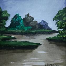 abstract landscape-6, 10 x 10 inch, vignesh kumar,abstract paintings,paintings for living room,landscape paintings,nature paintings,canvas,acrylic color,10x10inch,GAL02503126Nature,environment,Beauty,scenery,greenery