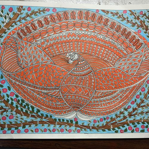 decorated eagle in madhubani painting style, 12 x 16 inch, lily prasad,12x16inch,ivory sheet,paintings,folk art paintings,conceptual paintings,madhubani paintings | madhubani art,paintings for dining room,paintings for living room,paintings for bedroom,paintings for office,paintings for bathroom,paintings for kids room,paintings for hotel,paintings for kitchen,paintings for school,paintings for hospital,acrylic color,paper,GAL01947831260