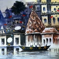 varanasi ghat ( evening kashi ), 11 x 7 inch, girish chandra vidyaratna,11x7inch,paper,paintings,figurative paintings,cityscape paintings,landscape paintings,modern art paintings,religious paintings,art deco paintings,paintings for living room,acrylic color,GAL03631274