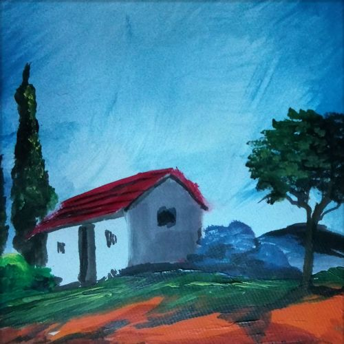 abstract landscape-8, 10 x 10 inch, vignesh kumar,abstract paintings,paintings for living room,landscape paintings,nature paintings,canvas,acrylic color,10x10inch,GAL02503128Nature,environment,Beauty,scenery,greenery