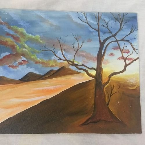 sunny landscape || tree painting, 16 x 12 inch, ashitha  reni,16x12inch,canvas board,landscape paintings,realistic paintings,paintings for dining room,paintings for living room,paintings for office,paintings for hotel,paintings for school,paintings for dining room,paintings for living room,paintings for office,paintings for hotel,paintings for school,acrylic color,GAL01961731282