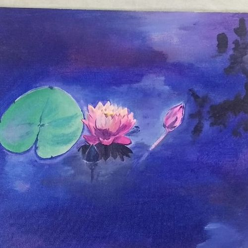 water lily, 12 x 10 inch, ashitha  reni,12x10inch,canvas board,paintings,flower paintings,realistic paintings,paintings for dining room,paintings for living room,paintings for bedroom,paintings for office,paintings for bathroom,paintings for hotel,paintings for dining room,paintings for living room,paintings for bedroom,paintings for office,paintings for bathroom,paintings for hotel,acrylic color,GAL01961731283
