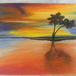 tree on a river side , 10 x 12 inch, ashitha  reni,10x12inch,canvas board,paintings,landscape paintings,realistic paintings,paintings for dining room,paintings for living room,paintings for office,paintings for hotel,acrylic color,GAL01961731284