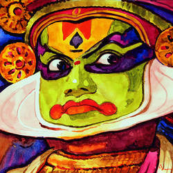 kathakali dancer (6), 19 x 11 inch, jeyaprakash m,expressionist paintings,paintings for living room,landscape paintings,nature paintings,canson paper,watercolor,19x11inch,GAL011023129Nature,environment,Beauty,scenery,greenery
