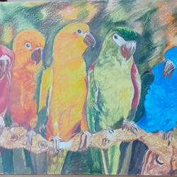 sweet parrots , 23 x 14 inch, surabhi  singh ,23x14inch,thick paper,paintings,wildlife paintings,nature paintings | scenery paintings,animal paintings,paintings for living room,paintings for office,paintings for kids room,paintings for hotel,pastel color,GAL01950531290
