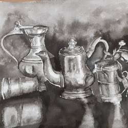 utencils, 15 x 11 inch, surabhi  singh ,15x11inch,handmade paper,paintings,still life paintings,paintings for dining room,paintings for living room,paintings for hotel,paintings for kitchen,ink color,GAL01950531291