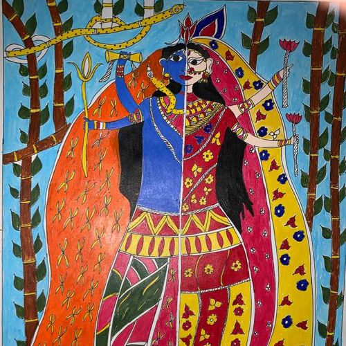 ardhnarishwar, 12 x 17 inch, lily prasad,12x17inch,ivory sheet,paintings,figurative paintings,folk art paintings,portrait paintings,art deco paintings,madhubani paintings | madhubani art,lord shiva paintings,paintings for dining room,paintings for living room,paintings for bedroom,paintings for office,paintings for bathroom,paintings for kids room,paintings for hotel,paintings for kitchen,paintings for school,paintings for hospital,acrylic color,ink color,pen color,graphite pencil,paper,GAL01947831293