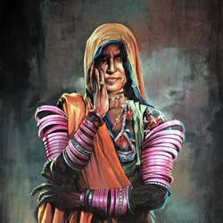lambadi women, 14 x 18 inch, sundarakannan srinivasan,14x18inch,cartridge paper,paintings,figurative paintings,folk art paintings,portrait paintings,illustration paintings,photorealism paintings,photorealism,realism paintings,paintings for dining room,paintings for living room,paintings for bedroom,paintings for office,paintings for hotel,paintings for school,paintings for hospital,poster color,watercolor,GAL01926431295