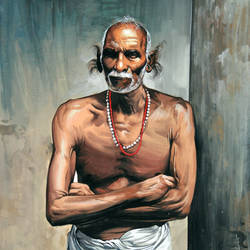 grandpaa, 14 x 18 inch, sundarakannan srinivasan,14x18inch,cartridge paper,paintings,figurative paintings,folk art paintings,portrait paintings,dada paintings,photorealism paintings,photorealism,portraiture,realistic paintings,paintings for dining room,paintings for living room,paintings for office,paintings for hotel,paintings for school,poster color,watercolor,GAL01926431298