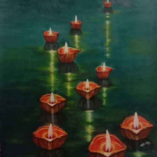 दीपोत्सव, 25 x 34 inch, ila  singh,25x34inch,canvas,paintings,figurative paintings,landscape paintings,modern art paintings,conceptual paintings,religious paintings,nature paintings | scenery paintings,abstract expressionism paintings,expressionism paintings,illustration paintings,impressionist paintings,photorealism paintings,photorealism,realism paintings,realistic paintings,paintings for dining room,paintings for living room,paintings for bedroom,paintings for office,paintings for kids room,paintings for hotel,paintings for kitchen,oil color,GAL0795931312