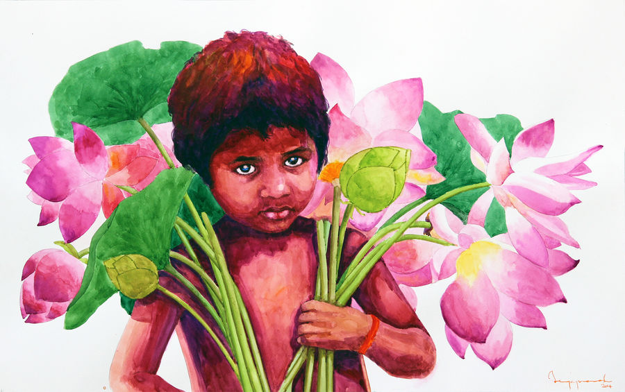 boy with lotus, 25 x 20 inch, jeyaprakash m,expressionist paintings,figurative paintings,paintings for living room,love paintings,canson paper,watercolor,25x20inch,GAL011023132