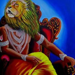 narasimha, 35 x 55 inch, shiuli majumder,35x55inch,canvas,paintings,religious paintings,acrylic color,GAL01355231322
