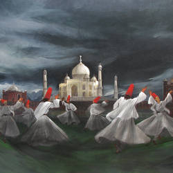 sufi dance and taj mahal, 48 x 36 inch, mitwa mistry,48x36inch,canvas,paintings,figurative paintings,folk art paintings,religious paintings,realism paintings,contemporary paintings,realistic paintings,paintings for dining room,paintings for living room,paintings for office,paintings for hotel,paintings for school,acrylic color,GAL01968431324