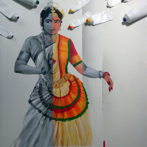 mohiniattam dance, 24 x 36 inch, mitwa mistry,24x36inch,canvas,paintings,figurative paintings,folk art paintings,modern art paintings,expressionism paintings,realism paintings,contemporary paintings,realistic paintings,paintings for dining room,paintings for living room,paintings for office,paintings for hotel,paintings for school,acrylic color,mixed media,GAL01968431327