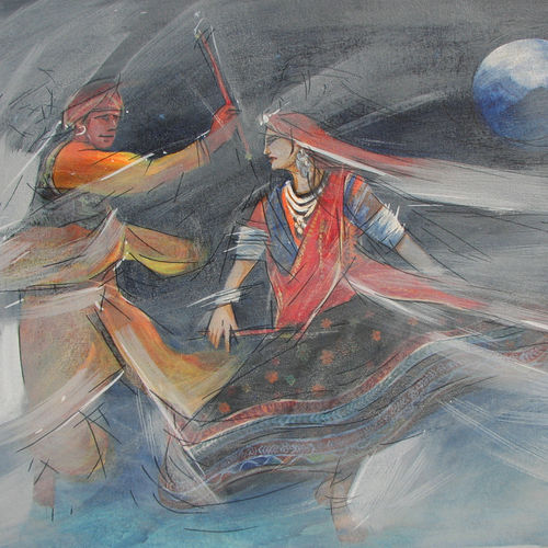 garba navratri, 36 x 24 inch, mitwa mistry,36x24inch,canvas,paintings,figurative paintings,folk art paintings,religious paintings,realism paintings,contemporary paintings,realistic paintings,paintings for dining room,paintings for living room,paintings for office,paintings for hotel,paintings for school,acrylic color,pastel color,GAL01968431329