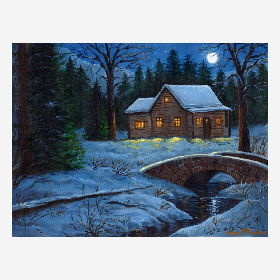 the moonlight cabin, 16 x 12 inch, niraj pradhan,16x12inch,canvas board,landscape paintings,nature paintings   scenery paintings,paintings for bedroom,paintings for office,paintings for hotel,paintings for bedroom,paintings for office,paintings for hotel,acrylic color,GAL049231331
